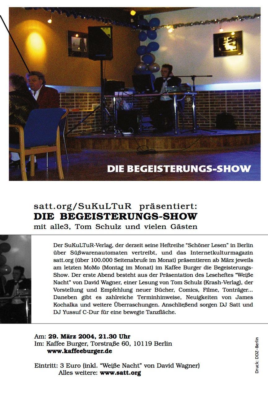 Die Begeisterungs-Show 1 (Einladung, Vor- und Rückseite)